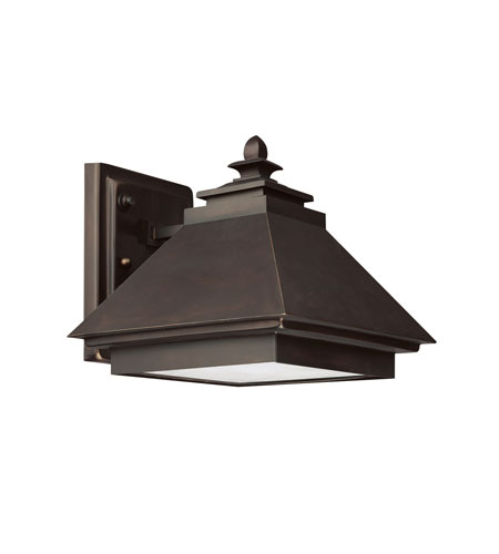 Capital Lighting Signature 1 Light Dark Sky/Energy Saver Outdoor Wall Lantern in Burnished Bronze with Acid-Washed Glass Lens 9092BB-GD photo