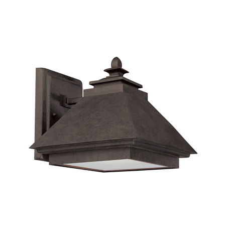 Capital Lighting Signature 1 Light Outdoor Wall Lantern in Rustic Iron with Acid-Washed Glass Lens 9092RI photo
