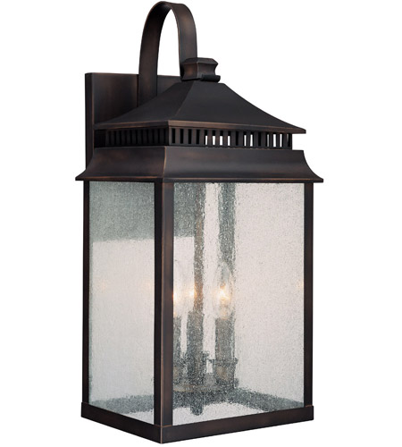 Capital Lighting Sutter Creek 3 Light Outdoor Wall Lantern in Old Bronze with Seeded Glass 9113OB photo