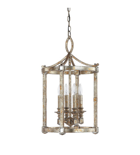 Capital Lighting Palazzo 4 Light Foyer in Silver and Gold Leaf with Antique Mirrors 9162SG photo
