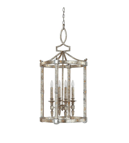 Capital Lighting 9163SG Palazzo 4 Light 19 inch Silver and Gold Leaf with Antique Mirrors Foyer Ceiling Light photo