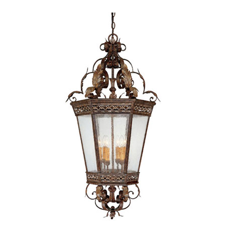 Capital Lighting Grandview 4 Light Foyer in Dark Spice with Seeded Glass 9342DS photo