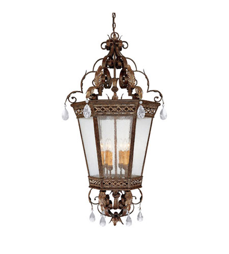 Capital Lighting Grandview 6 Light Foyer Pendant in Dark Spice with Crystals 9343DS-CR photo