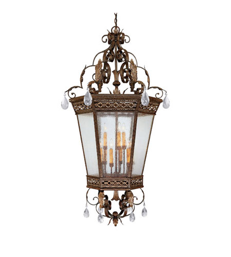 Capital Lighting Grandview 9 Light Foyer Pendant in Dark Spice with Crystals 9344DS-CR photo