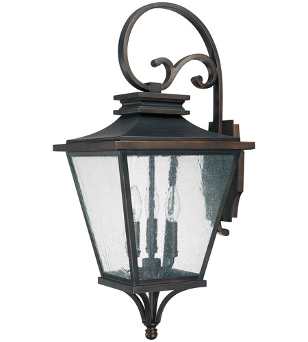 Capital Lighting Gentry 3 Light Outdoor Wall Lantern in Old Bronze with Antique Glass 9463OB photo
