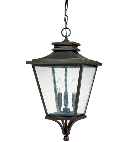 Capital Lighting Gentry 3 Light Outdoor Hanging Lantern in Old Bronze with Antique Glass 9465OB photo