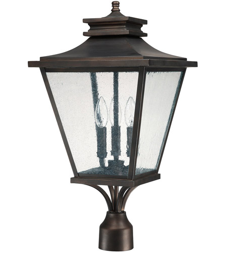Capital Lighting Gentry 3 Light Outdoor Post Lantern in Old Bronze with Antique Glass 9466OB photo