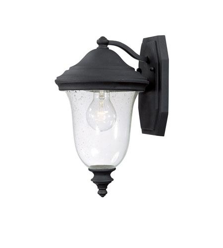 Capital Lighting Dawson 1 Light Outdoor Wall Lantern in Black with Seeded Glass 9511BK photo
