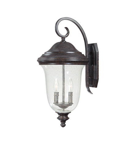Capital Lighting Dawson 2 Light Outdoor Wall Lantern in New Tortoise with Seeded Glass 9513NT photo
