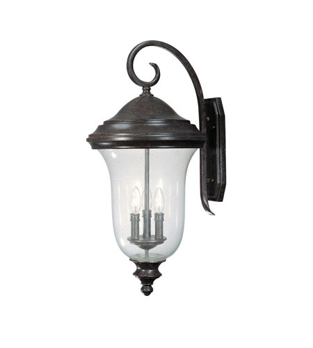 Capital Lighting Dawson 3 Light Outdoor Wall Lantern in New Tortoise with Seeded Glass 9514NT photo