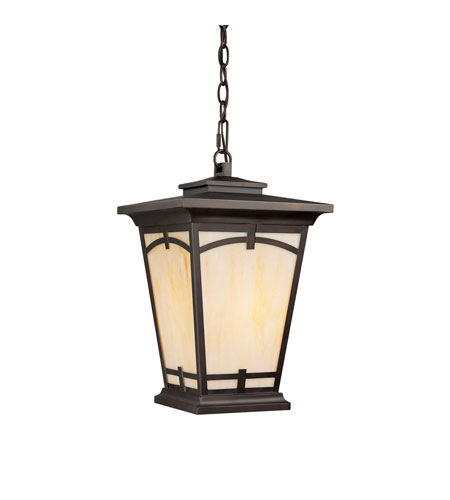 Capital Lighting Dakota 1 Light Outdoor Hanging Lantern in Burnished Bronze with Honey Art Glass 9528BB photo