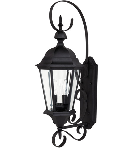 Capital Lighting Carraige House 2 Light Outdoor Wall Lantern in Black with Clear Glass 9722BK photo