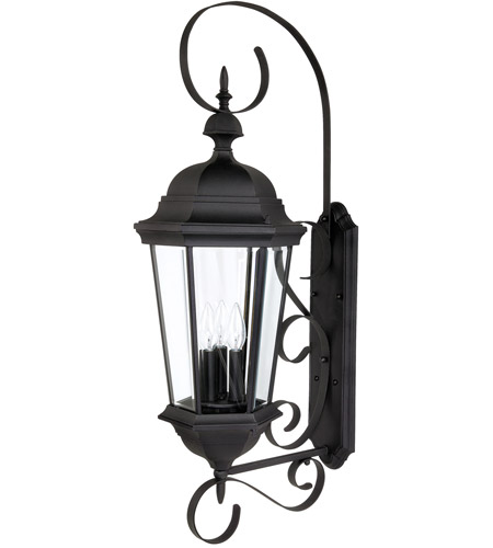 Capital Lighting Carraige House 3 Light Outdoor Wall Lantern in Black with Clear Glass 9723BK photo