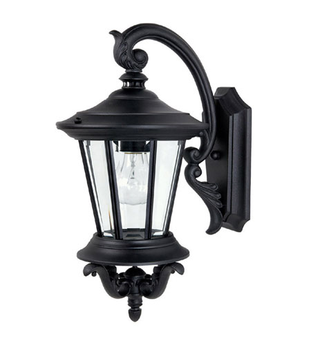 Capital Lighting Madison 1 Light Outdoor Wall Lantern in Black with Clear Glass 9751BK photo
