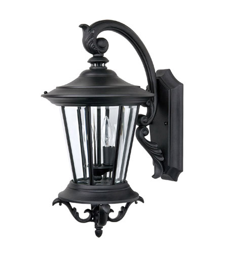 Capital Lighting Madison 2 Light Outdoor Wall Lantern in Black with Clear Glass 9752BK photo
