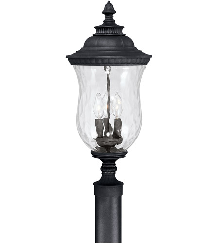 Capital Lighting Ashford 3 Light Outdoor Post Lantern in Black with Hammered Glass 9785BK photo