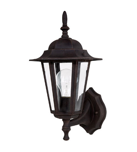 Capital Lighting Signature 1 Light Outdoor Wall Lantern in Rust with Clear Glass 9825RU photo