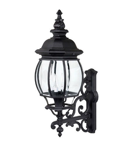 Capital Lighting French Country 4 Light Outdoor Wall Lantern in Black with Clear Glass 9860BK photo