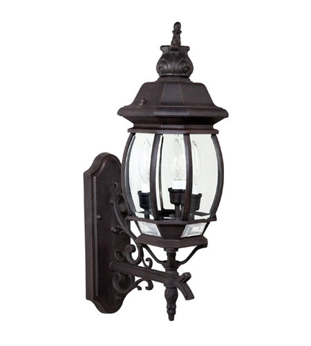 Capital Lighting French Country 3 Light Outdoor Wall Lantern in Rust with Clear Glass 9863RU photo