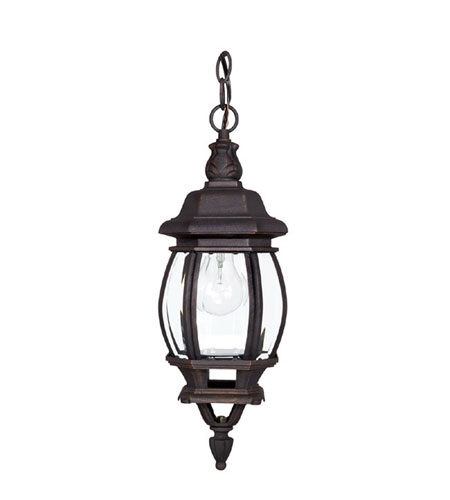 Capital Lighting French Country 1 Light Outdoor Hanging Lantern in Rust with Clear Glass 9868RU photo