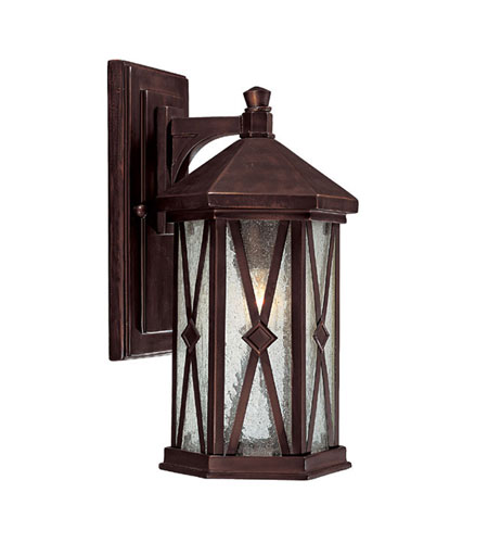 Capital Lighting Saxton 1 Light Outdoor Wall Lantern in Burnished Bronze with Seeded Glass 9872BB photo