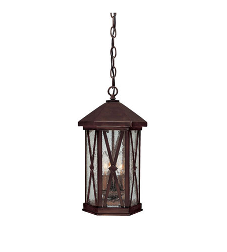 Capital Lighting Saxton 3 Light Outdoor Hanging Lantern in Burnished Bronze with Seeded Glass 9875BB photo