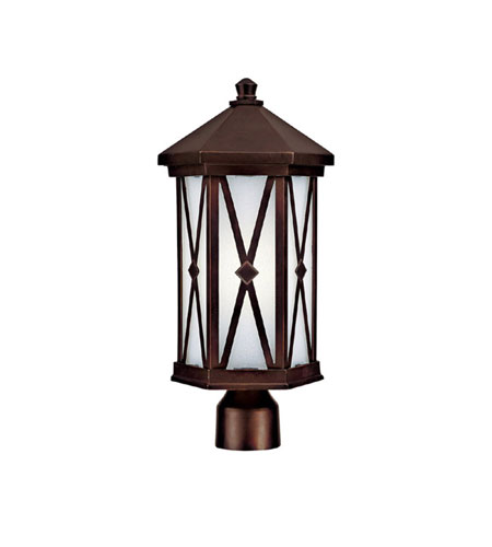 Capital Lighting Saxton 1 Light Fluorescent Outdoor Post Lantern in Burnished Bronze with Frosted Seeded Glass 9876BB-GU photo