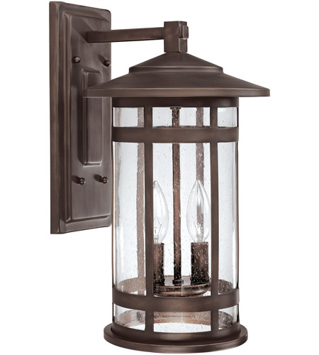 Capital Lighting Mission Hills 2 Light Outdoor Wall Lantern in Burnished Bronze with Seeded Glass 9952BB photo
