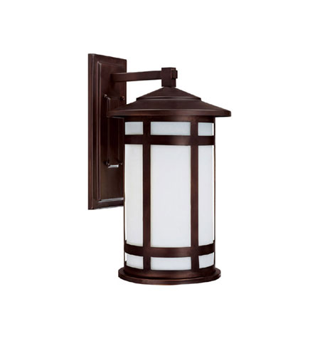 Capital Lighting Mission Hills 1 Light Fluorescent Outdoor Wall Lantern in Burnished Bronze with Frosted Seeded Glass 9953BB-GU photo
