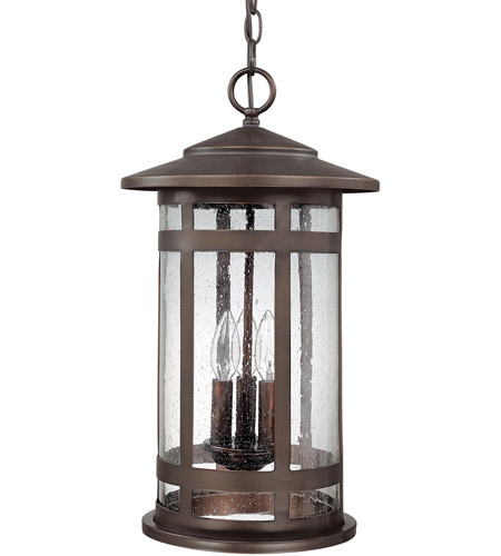 Capital Lighting Mission Hills 3 Light Outdoor Hanging Lantern in Burnished Bronze with Seeded Glass 9954BB photo