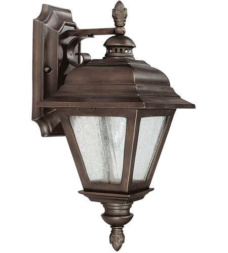 Capital Lighting Brookwood 1 Light Outdoor Wall Lantern in Burnished Bronze with Seeded Glass 9961BB photo