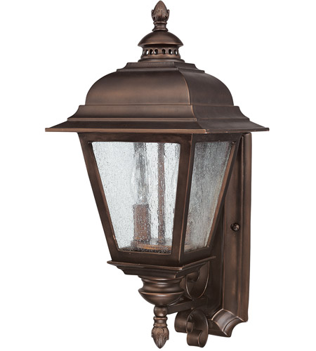 Capital Lighting Brookwood 2 Light Outdoor Wall Lantern in Burnished Bronze with Seeded Glass 9962BB photo