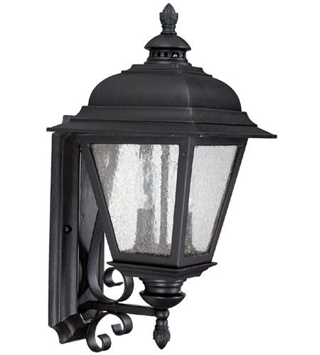 Capital Lighting Brookwood 2 Light Outdoor Wall Lantern in Black with Seeded Glass 9962BK photo