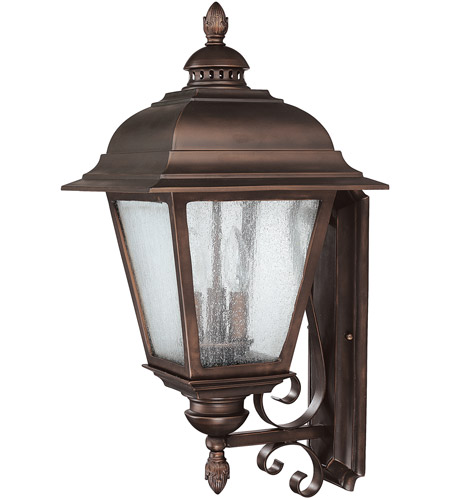 Capital Lighting Brookwood 3 Light Outdoor Wall Lantern in Burnished Bronze with Seeded Glass 9963BB photo
