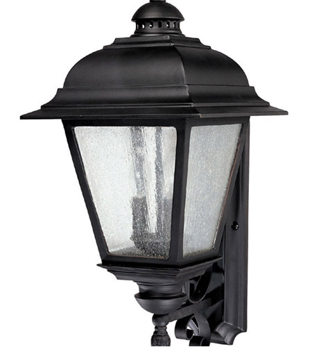 Capital Lighting Brookwood 3 Light Outdoor Wall Lantern in Black with Seeded Glass 9963BK photo