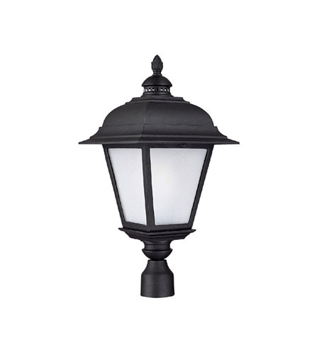 Capital Lighting Brookwood 1 Light Fluorescent Outdoor Post Lantern in Black with Frosted Seeded Glass 9967BK-GU photo