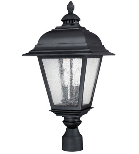 Capital Lighting Brookwood 3 Light Outdoor Post Lantern in Black with Seeded Glass 9967BK photo