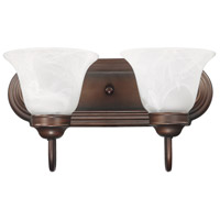 Capital Lighting Signature 2 Light Vanity in Burnished Bronze with White Faux Alabaster Glass 1032BB-118