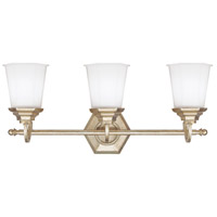 Capital Lighting Fifth Avenue 3 Light Vanity in Winter Gold with Soft White Glass 1068WG-101 photo thumbnail