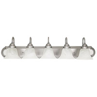 Capital Lighting Signature 5 Light Vanity in Matte Nickel with Faux White Alabaster Glass 1165MN-118