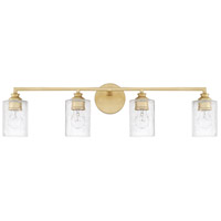 Milan 4 Light 33 inch Capital Gold Vanity Wall Light