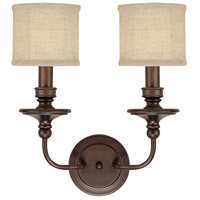 Midtown 2 Light 15 inch Burnished Bronze Sconce Wall Light in Light Tan Fabric Shade