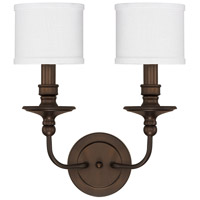 Midtown 2 Light 15 inch Burnished Bronze Sconce Wall Light in Decorative White Fabric Shade