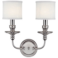 Midtown 2 Light 15 inch Polished Nickel Sconce Wall Light in Decorative White Fabric Shade
