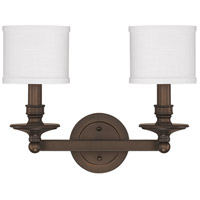 Capital Lighting Midtown 2 Light Vanity in Burnished Bronze with Decorative White Fabric Stay-Straight Shades 1237BB-451