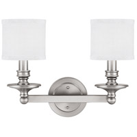 Midtown 2 Light 18 inch Matte Nickel Vanity Wall Light in Decorative White Fabric Shade