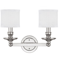 Midtown 2 Light 18 inch Polished Nickel Vanity Wall Light in Decorative White Fabric Shade