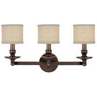 Midtown 3 Light 26 inch Burnished Bronze Vanity Wall Light in Light Tan Fabric Shade