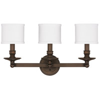 Capital Lighting Midtown 3 Light Vanity in Burnished Bronze with Decorative White Fabric Stay-Straight Shades 1238BB-451