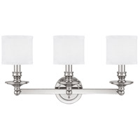 Midtown 3 Light 26 inch Polished Nickel Vanity Wall Light in Decorative White Fabric Shade